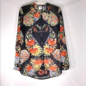 cabi Women's floral sheer top